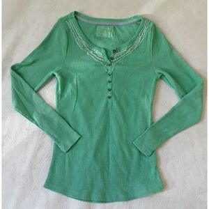 Sonoma Womens Sz Sm Green Thermal Long Sleeve Top